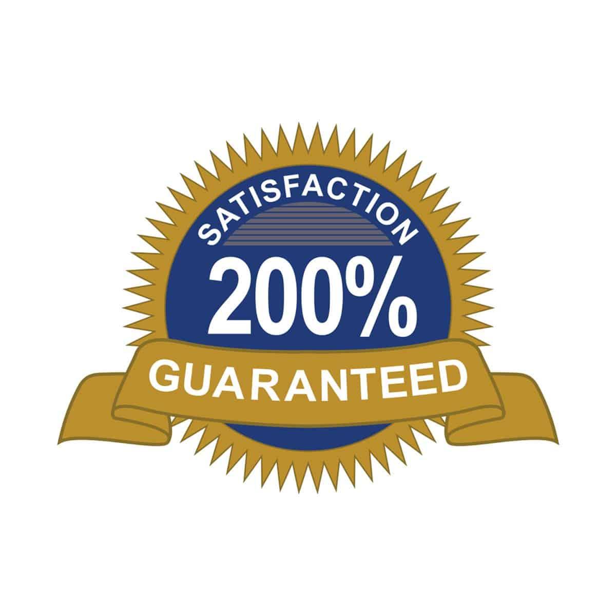 200 percent Satisfaction Guarantee Logo